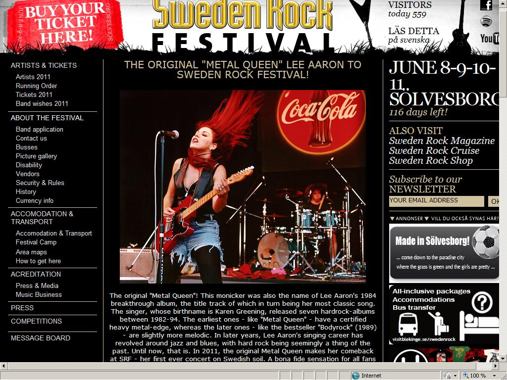 Screenshot of Sweden Rocks frontpage Feb 11,2011